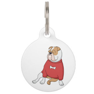bulldog chillin in sweater cartoon pet ID tag