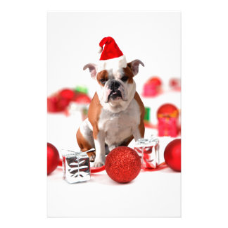 Bulldog Christmas Gift Box Ornaments Red Santa Hat Customized Stationery