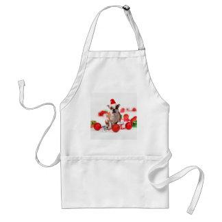 Bulldog Christmas Gift Box Ornaments Red Santa Hat Standard Apron