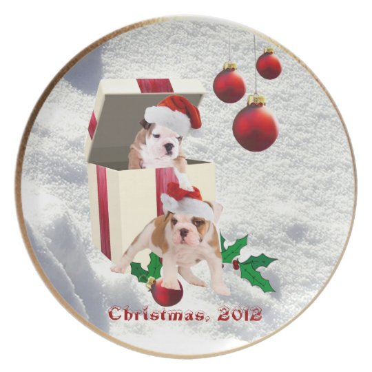 Bulldog Christmas Plate Very Cute - Customize It!