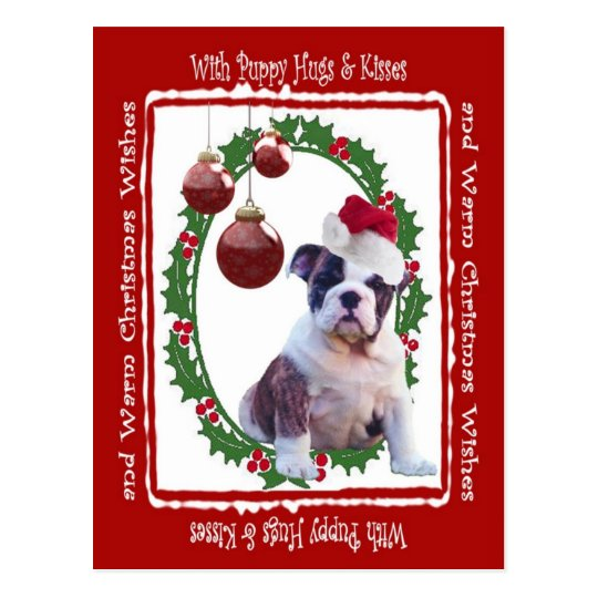 Bulldog Christmas Puppy Hugs Postcard #2