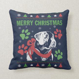 Bulldog Christmas Throw Pillow