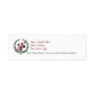 Bulldog Christmas Wishes Return Address Label #3