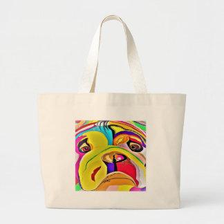 Bulldog Close-up Large Tote Bag