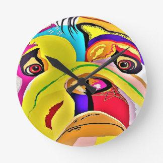 Bulldog Close-up Round Clock