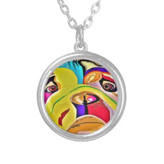 Bulldog Close-up Silver Plated Necklace