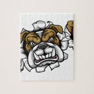 Bulldog Cricket Sports Mascot Jigsaw Puzzle