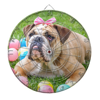 Bulldog Cute Easter Animal Dog Hundeportrait Pet Dartboard