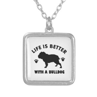 Bulldog design silver plated necklace
