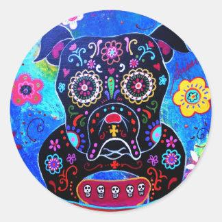 Bulldog Dia de los Muertos Painting Classic Round Sticker
