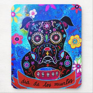 Bulldog Dia de los Muertos Painting Mouse Pad