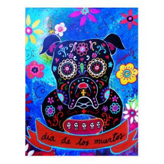 Bulldog Dia de los Muertos Painting Postcard
