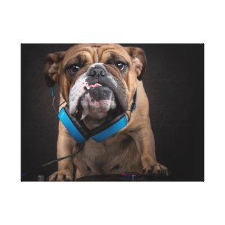 bulldog dj - dj dog canvas print