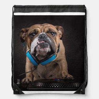 bulldog dj - dj dog drawstring bag
