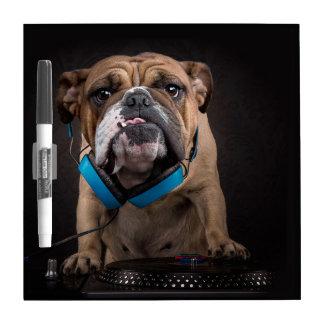 bulldog dj - dj dog dry erase board