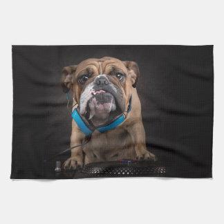 bulldog dj - dj dog kitchen towel