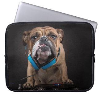 bulldog dj - dj dog laptop computer sleeve