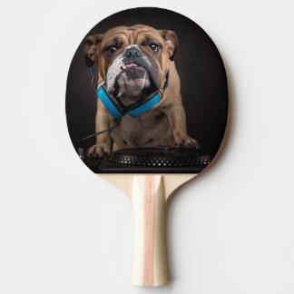 bulldog dj - dj dog ping pong paddle