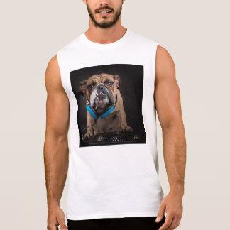 bulldog dj - dj dog sleeveless shirt