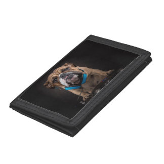 bulldog dj - dj dog tri-fold wallets