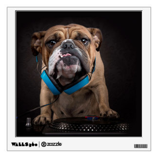 bulldog dj - dj dog wall decal