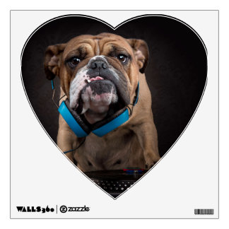 bulldog dj - dj dog wall sticker