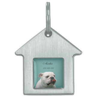 Bulldog dog custom name & phone no. pet dog id tag