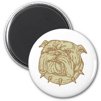 Bulldog Dog Mongrel Head Collar Mono Line 2 Inch Round Magnet