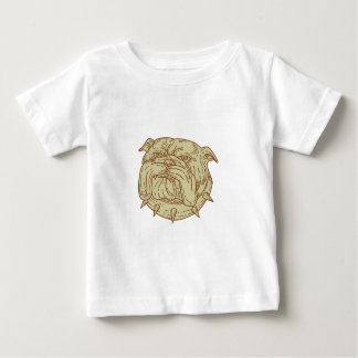 Bulldog Dog Mongrel Head Collar Mono Line Baby T-Shirt