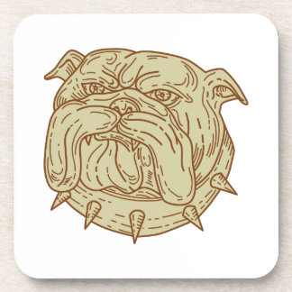 Bulldog Dog Mongrel Head Collar Mono Line Beverage Coaster