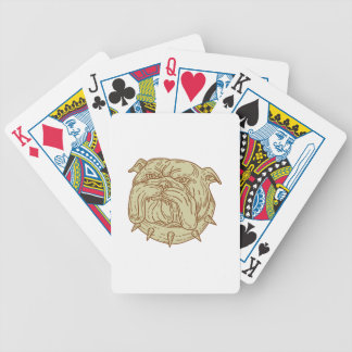 Bulldog Dog Mongrel Head Collar Mono Line Bicycle Playing Cards