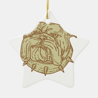 Bulldog Dog Mongrel Head Collar Mono Line Ceramic Star Ornament