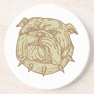 Bulldog Dog Mongrel Head Collar Mono Line Coaster