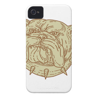 Bulldog Dog Mongrel Head Collar Mono Line iPhone 4 Case-Mate Cases