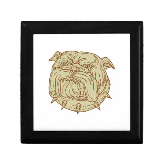 Bulldog Dog Mongrel Head Collar Mono Line Keepsake Box
