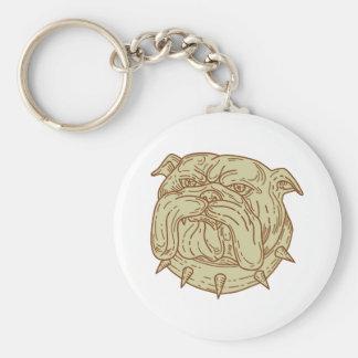Bulldog Dog Mongrel Head Collar Mono Line Keychain