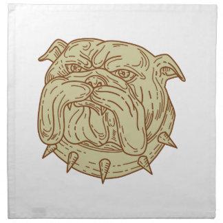 Bulldog Dog Mongrel Head Collar Mono Line Napkin