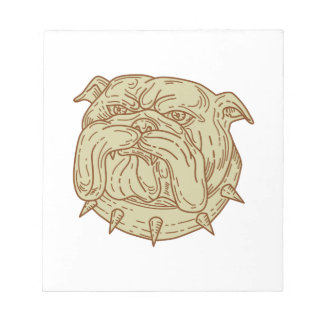 Bulldog Dog Mongrel Head Collar Mono Line Notepad