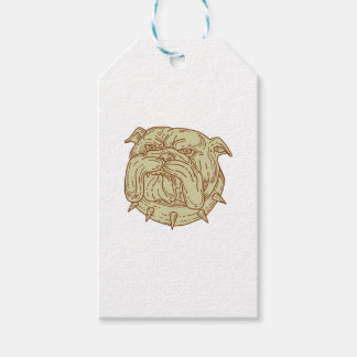Bulldog Dog Mongrel Head Collar Mono Line Pack Of Gift Tags