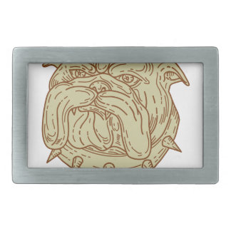 Bulldog Dog Mongrel Head Collar Mono Line Rectangular Belt Buckles