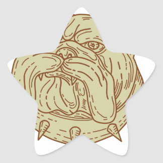 Bulldog Dog Mongrel Head Collar Mono Line Star Sticker