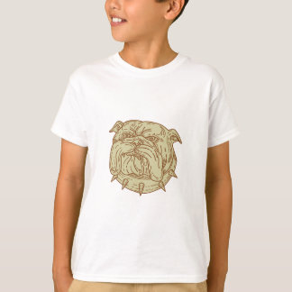 Bulldog Dog Mongrel Head Collar Mono Line T-Shirt