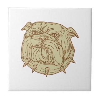 Bulldog Dog Mongrel Head Collar Mono Line Tile