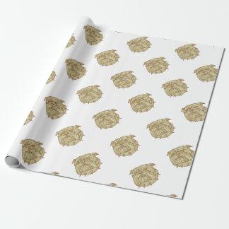 Bulldog Dog Mongrel Head Collar Mono Line Wrapping Paper