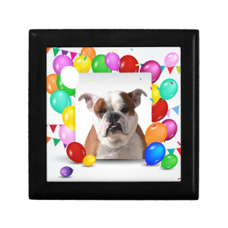 Bulldog Dog with colorful Balloons Birthday Theme Keepsake Box