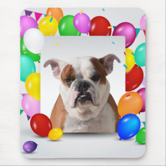Bulldog Dog with colorful Balloons Birthday Theme Mouse Pad