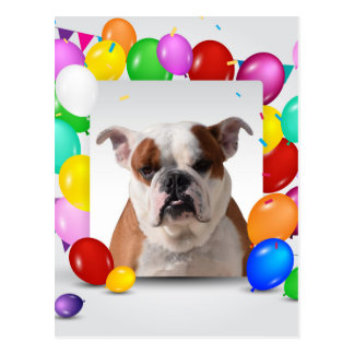 Bulldog Dog with colorful Balloons Birthday Theme Postcard