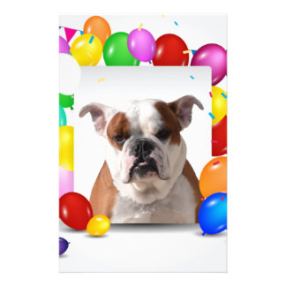 Bulldog Dog with colorful Balloons Birthday Theme Stationery Design