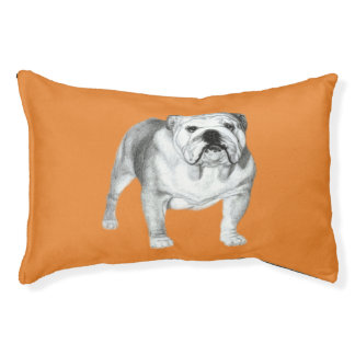 Bulldog drawing pet bed