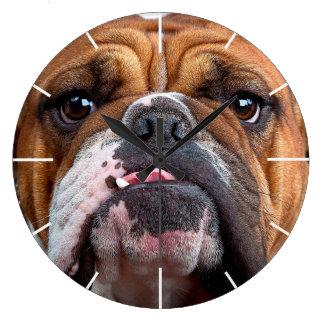 Bulldog English Bad Face Large Clock